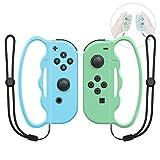 Agarre de boxeo para Nintendo Switch Joy-Con Fitness Boxing Game, ajuste Boxeo Accesorios Mango para Adultos y Niños, 2 paquetes (verde claro y azul)