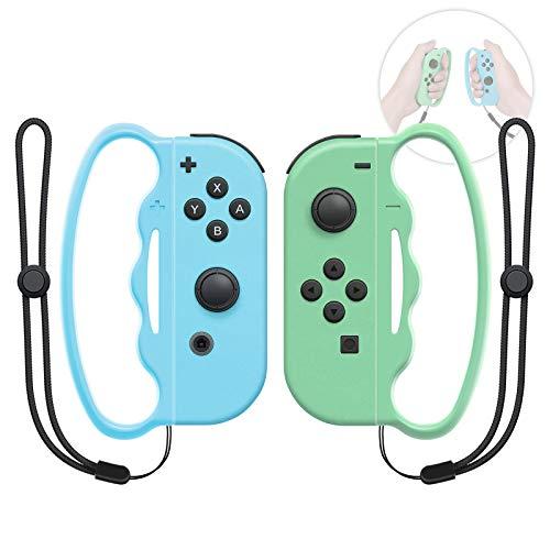 MENEEA Grip da Boxe per Nintendo Switch Joy-con Fitness Boxing Game, Fit Boxing Clasp Accessori Maniglia per Adulti e Bambini, 2 Confezioni (Verde Chiaro e Blu)