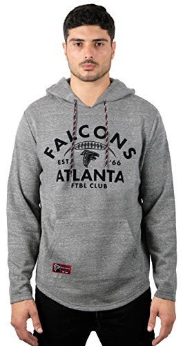 Ultra Game NFL Atlanta Falcons Mens Fleece Hoodie Pullover Sweatshirt Vintage Logo, Gray Snow, X-Large