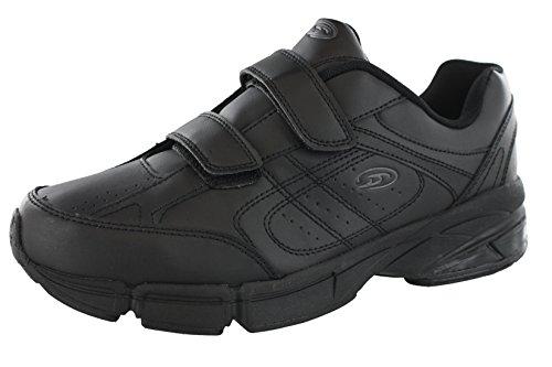 Dr.Scholls Men's Omega Light Weight Dual Strap Closure Sneaker Wide Width, Black, 10 Wide