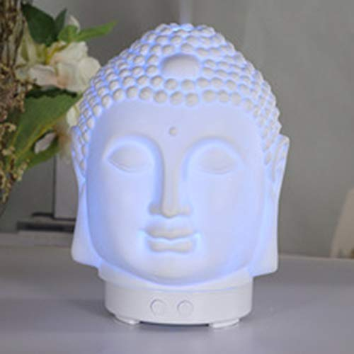 Buddha Head Essential Oil Diffuser, Buddha Aromatherapy Diffuser Ceramic Candle Holder Incense Burner, 100ml Diffuser Waterless Auto Off Birthday Gift for Women Girl Home Office Zen Yoga Decorative