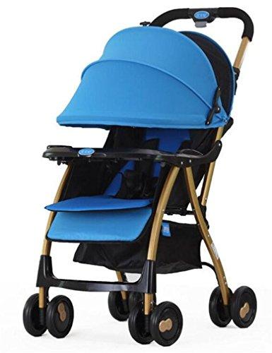 MTTLS Cochecito Silla de Paseo Neonato passeggino passeggino Inverno ed Estate Dual con navicella e leggero pieghevole Anti-Shock convenienza, Blue