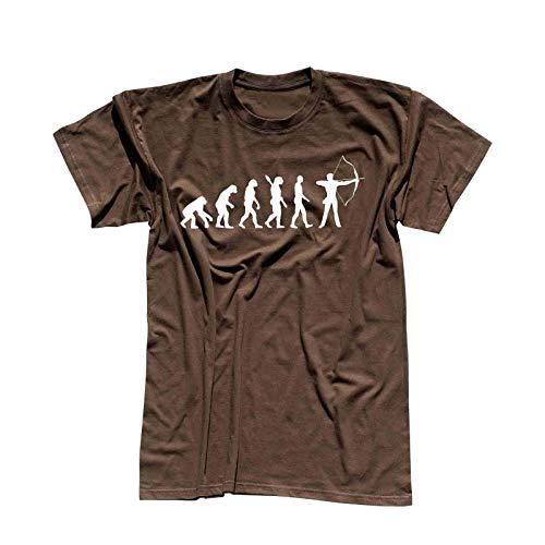 T-Shirt Evolution Bogenschütze Kyudo FITA Robin Hood 13 Farben Herren XS - 5XL IFAA DBSV Sport 3D-Schießen Langbogen Zielscheibe Pfeil Jagd, Größe:4XL, Farbe:braun - Logo Weiss