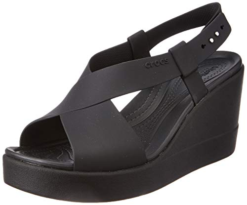 Crocs Damen Brooklyn High Wedge W Freizeit Flip Flops und Sportwear Women, Multicolor (Schwarz/Schwarz), 36 EU