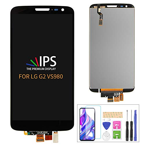 A-MIND Screen Replacement for LG G2 LCD VS980 LS980 Screen D800 D801 D803 LCD Display Touch Screen Digitizer Glass Sensor Glass Repair Parts Kit Assembly,Tools Tempered Glass Include(Black)