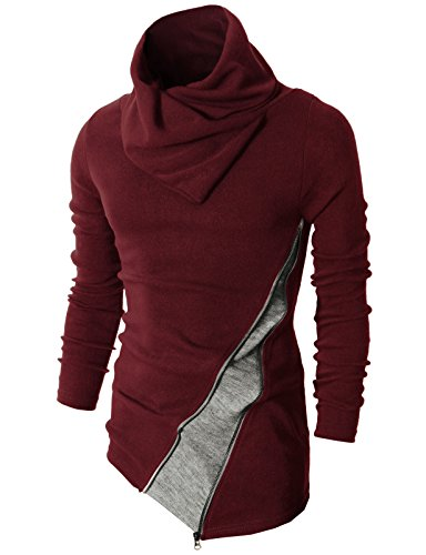 H2H Mens Fashion Turtleneck Slim Fit Pullover Sweater Oblique Line Bottom Edge Maroon US S/Asia M (KMTTL045)