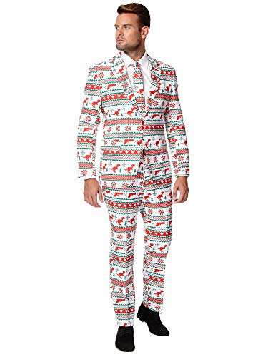 OppoSuits Fun Ugly Christmas for Men – Gangstaclaus – Full Suit: Jacket, Pants & Tie Costume d39homme, White, 44 Homme