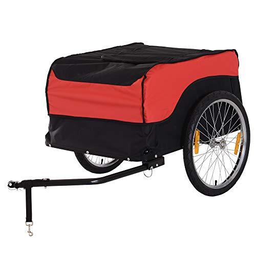 HOMCOM® Transportanhänger Lastenanhänger Fahrrad Anhänge Lasten-Fahrradanhänger CargoTrailer (Rot-Schwarz)