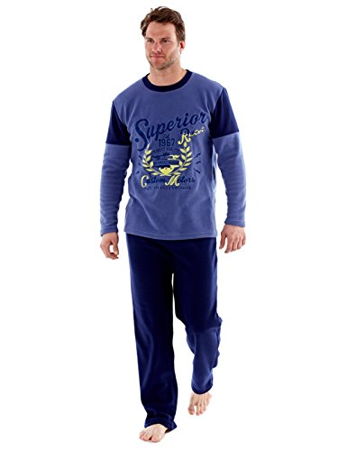SaneShoppe Harvey James - Warme Polarfleece-Pyjama-Sets für Herren, thermische Loungewear (Large, Blau)