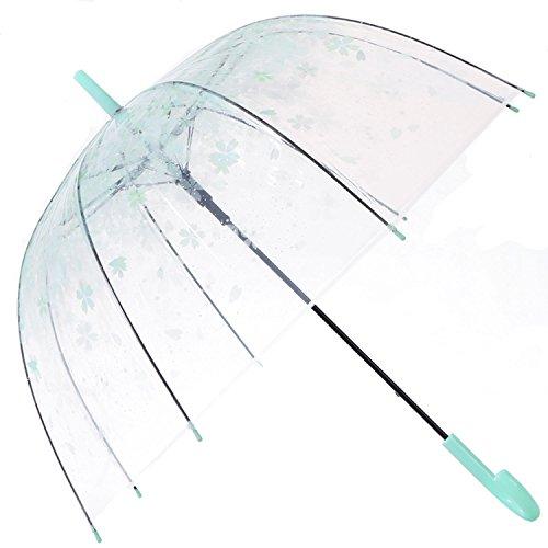 HAOCOO Cherry Blossoms Clear Umbrella,Bubble Transparent Fashion Dome Auto Open Umbrella Windproof for Outdoor Weddings (Green)