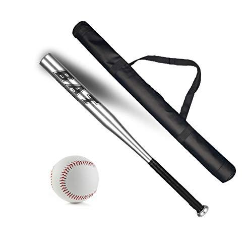 Macllar Bate de Béisbol, 30 Pulgadas, 76cm, Bate de Beisbol Aluminio, Defensa del Hogar, Armas de Autodefensa, con Bola, Bolsa de Almacenamiento, Plata, para Puerta de casa y Coche