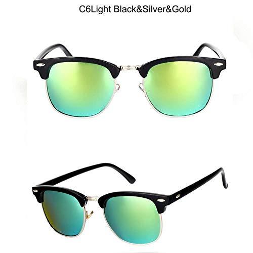 Sonnenbrille Sunglasses Polarisierte Vintage Semi-Rimless Designer Sonnenbrille Damen/Herren KlassischeRetroSonnenbrilleBlacksilvergold