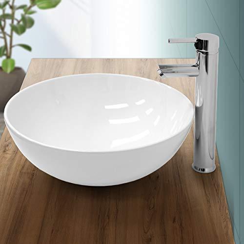 ECD Germany Waschbecken Waschtisch Ø 400 x 147 mm aus Keramik Rund Weiß - Aufsatzbecken Aufsatzwaschbecken Handwaschbecken Aufsatzwaschtisch Spülbecken Becken Wasserfall Waschschale Waschschlüssel