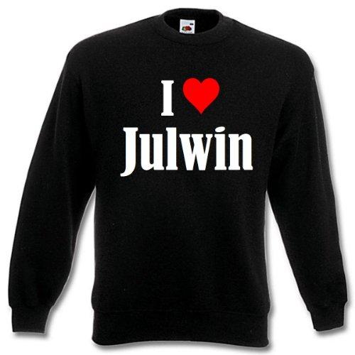 Reifen-Markt Sudadera I Love Julwin para mujer, hombre y niños en los colores negro, blanco y azul con impresión Negro S