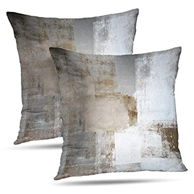 Alricc Brown Throw Pillow Covers 20x20, 2 Pack Square Decorative Pillow Cases Cushion for Farmhouse Home Decor