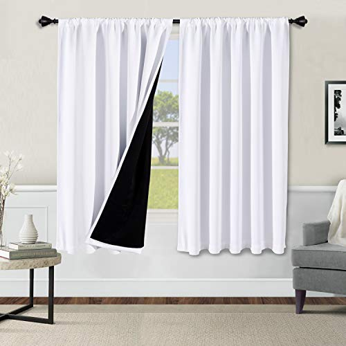 WONTEX 100% White Blackout Curtains for Bedroom 42 x 63 inch Length - Thermal Insulated, Noise Reducing, Sun Blocking Lined Rod Pocket Window Curtain Panels for Living Room, Set of 2 Winter Curtains