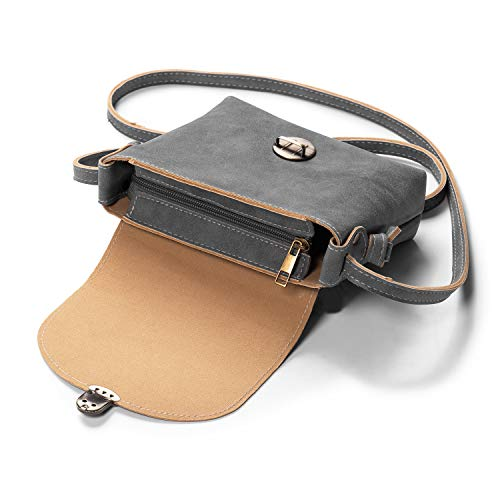 Kleine Umhängetasche Damen mit Sicher Schloss, LaRechor Vegan Leder Handtasche Handytasche zum Umhängen (Grau)