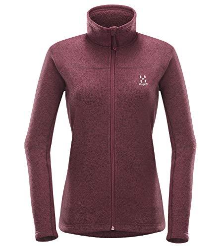 Haglöfs Swook Jacket Strick-Jacke geschmeidige Damen Outdoor-Jacke mit Fleece-Futter und Kinnschutz Überzieh-Jacke Lagen-Look Jacke Violett, Größe:XS