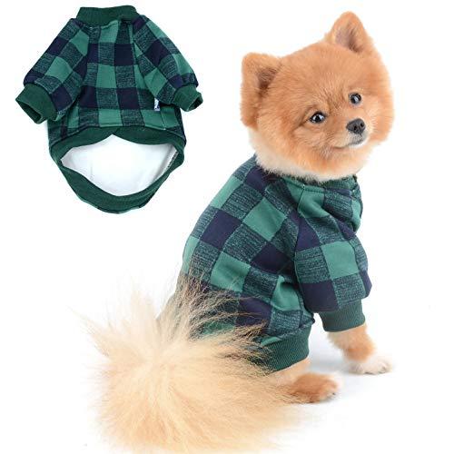SELMAI Puppy Jumpers Hundepullover für Kleine Hunde Jungen Rot und Schwarz Mode Plaid Warmes Fleece Futter Wintermantel für Chihuahua Katzenbekleidung 2 Beine Sweatshirt Haustiere Kleidung Grün XL