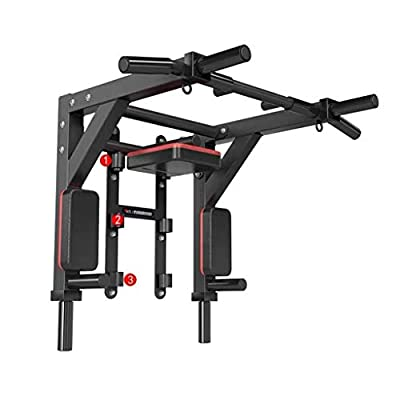 Multi Function Wall Mount Chin Up Bar Height Adjustable Pull-Up Bar Multi Grip Strength Training Equipment for Home Gym 880 LB Weight Capacity (Color : Black)