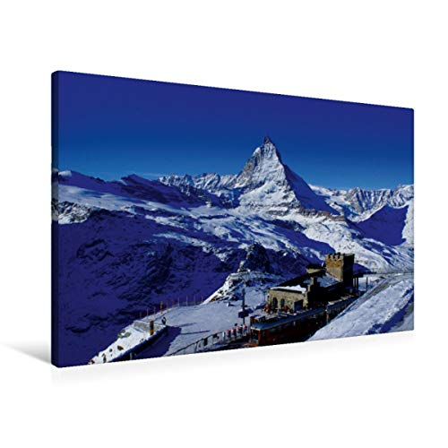 Calvendo Premium Textil-Leinwand 90 cm x 60 cm quer, Gornergrat mit Matterhorn. Zermatt | Wandbild, Bild auf Keilrahmen, Fertigbild auf echter Leinwand. Zermatt/Wallis/Schweiz Natur Natur