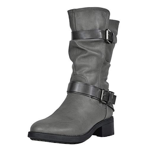DREAM PAIRS Women's Pocono Grey Faux Fur Mid Calf Riding Winter Boots Size 8.5 M US