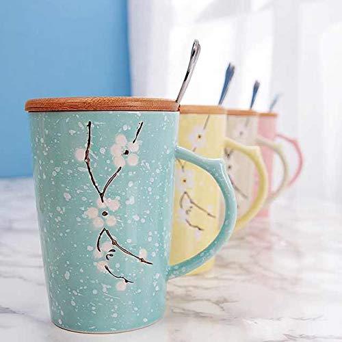 Tazza in ceramica con disegno di fiori Compresa di coperchio di chiusura in legno e cucchiaino Tazza per thè latte caffè Capacità 400 ml Colore Giallo