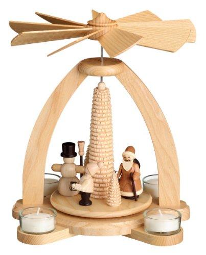 Volkskunstwerkstatt Unger Tischpyramide - Teelichtpyramide Winter Motiv mit Ringelbaum - Original Erzgebirge® #1840