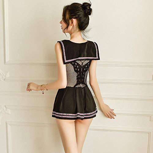 CZXN Camisones eróticos para Mujer Conjuntos de lencería Disfraz de Halloween Sexy Princesa Prince Maid Outfit Mini Mesh Gown Black Cosplay Underwear Set Talla única
