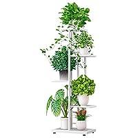 zzbiqs - supporto metallico porta piante, scaffale porta piante, supporto per piante in metallo, portavaso di fiori per decorazione interna ed esterna (98x43x22, bianco)