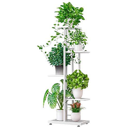 ZZBIQS 5 Tier Blumentopf Ständer Kräuter-Halter, Pflanzenständer aus Metall, Pot Rack-Anzeigen-Regal für Innen- und Außendekoration (Weiß)