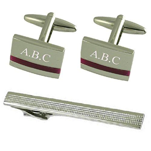 Select Gifts Boutons de manchette argent améthyste violette gravée cadeau cravate avec 65mm