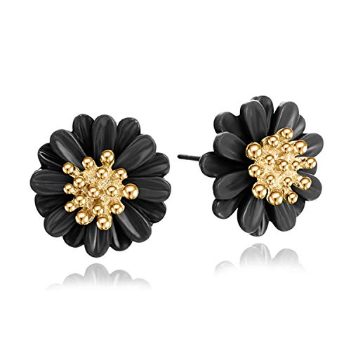 Sunwd Mujer Pendientes, Stud Earrings For Women Brincos Boucle D\'oreille Bijoux Crystal Clover Flower Jewelry Gold Earring Woman e0119black