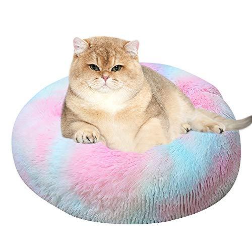 Vejaoo Cama Gato Suave Cama Perro Redonda, Cama calmante para Perros y Gatos XZ002 (Diameter:40cm, Tie-Dye Colorful)