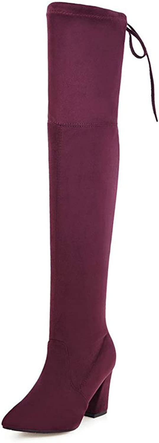 Kaloosh Women's Over The Knee Boots High Stretch Faux Sexy Pull Up Dress shoes High Heels