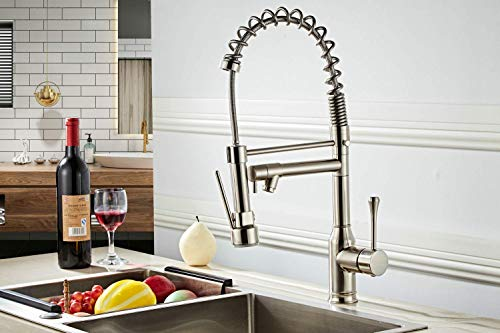 Professional Sink Mixer Tap Kitchen Faucet Brushed Nickel Brass 360 Degree...