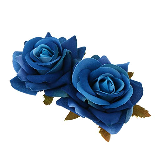 PETSOLA Peinetas Flores Rojas, Peinetas de Pelo para Fiesta Boda Novia Accesorios Cabello Niñas, Tocados de Mujer - Azul