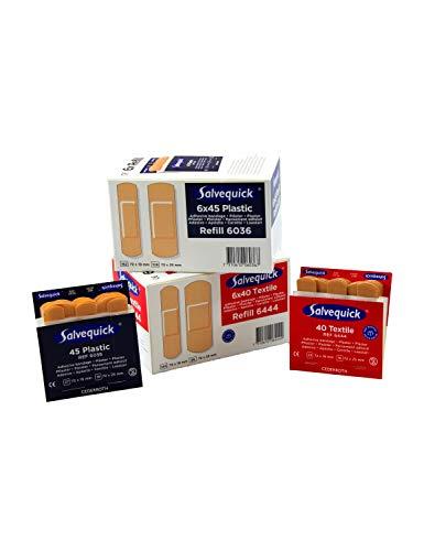 Salvequick®-Refill-Einsätze, Doppelpack FLEXEO-Spar-Set 6xREF6036 Plastic und 6xREF6444 Textil (inkl. Hinweis zur Pflasteranwendung)
