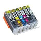 HAUYZ Compatible con Cartucho de Tinta Canon PGI-270XL CLI-271, Adecuado para Impresora Canon PIXMA MG5720 MG5721 MG6820 MG6821 con Tinta y Recargable 1 Set