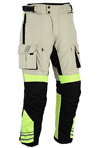 Bikers Gear Australia Hi Viz Safety GloRider Pantalones Impermeables para Motocicleta con CE1621-1 Armadura extraíble UK42R-EU52R
