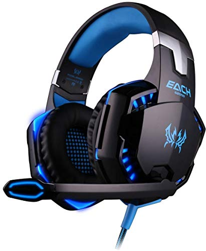 KOTION EACH G2000 Gaming Headset Earphone 3.5mm Jack with LED Backlit Mic Stereo Bass Noise Cancelling PS4 Headset Xbox One Headset for Computer Game Player (Black + Blue)