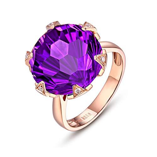 AmDxD Anillo de boda de oro rosa de 14 quilates, amatista de 10 quilates con diamante solitario, anillos de promesa para ella tamaño R 1/2, regalos de cumpleaños | Regalos de San Valentín para mujeres