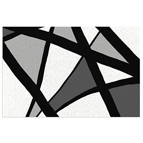 Felpudo de entrada de PVC antideslizante con línea geométrica, color negro, gris y blanco, para interiores y exteriores, alfombra de entrada para casa de campo, decoración de porche de 39,7 x 59,9 cm