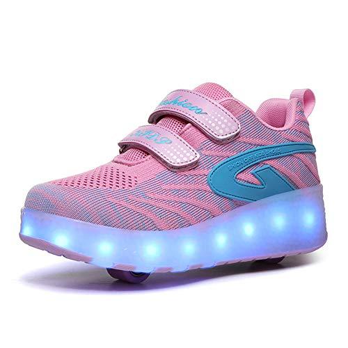 Unisex Kinder Jungen Mädchen mit Doppelt Rollen LED Rollenschuhe Einziehbar Outdoor Sportschuhe LED Leuchtend Gymnastik Sneaker 7 Farbe Blinken USB Aufladbare Skateboardschuhe