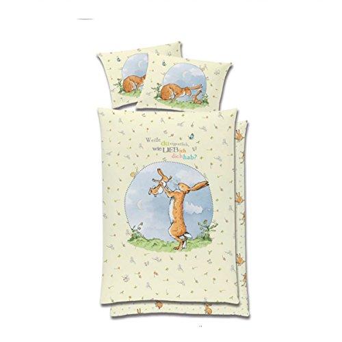 Global Labels Baby- und Kinderbettwäsche 'Weißt du eigentlich, wie lieb ich dich hab', Renforce, creme/hellblau , Größe Bettwäsche:135 x 200 cm