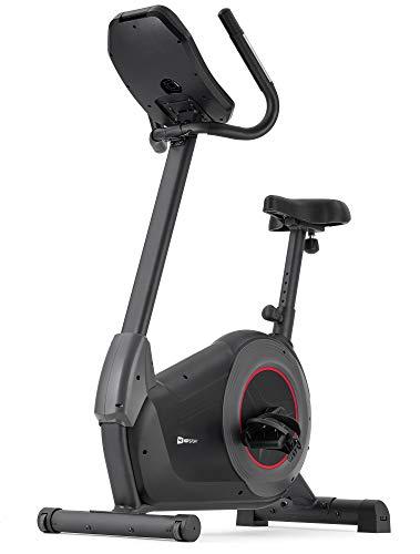 Hop-Sport Heimtrainer Fahrrad HS-100H inkl. Unterlegmatte - Ergometer mit App-Steuerung, 12 Trainingsprogrammen - Fitnessbike max. Nutzergewicht 150 kg (schwarz)