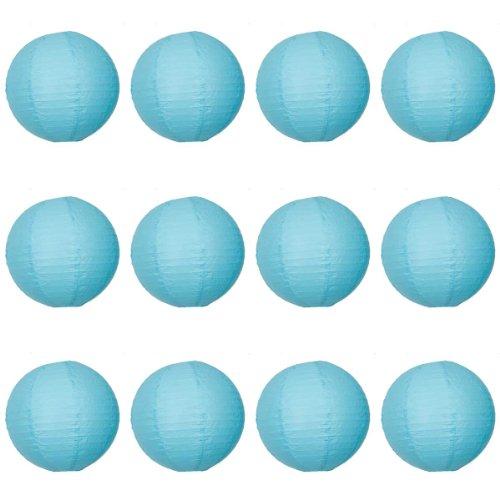 12 x 16 cm-Turquoise-Lanterne en Papier ronde avec nervures en fil de fer-Lot de 10