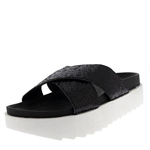 Mujer Plataforma Resplandecer Correa Ponerse Verano Moda Sandalias Zapatos - Negro Correa Cruzada PN0147 5UK/38
