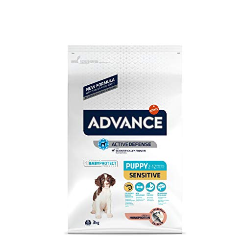 ADVANCE Sensitive Puppy - Croquettes pour Chiot pour Sensibilités Digestives et Cutanées avec Saumon et Riz - 3Kg