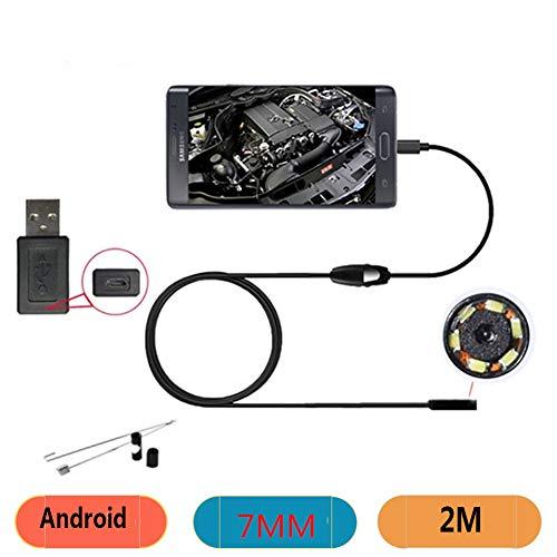 RJY Endoskop 2M Inspektionskamera 2 in 1 Borescope 7Mm Halb Steif Endoskopkamera Rohrkamera Wasserdicht Für Android Windows Mit OTG+UVC